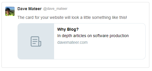 Twitter Card, Open Graph and Site Previews | Dave Mateer's Blog